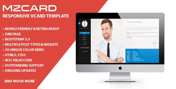 MilZinCard - Responsive vCard Template  - Virtual Business Card Personal