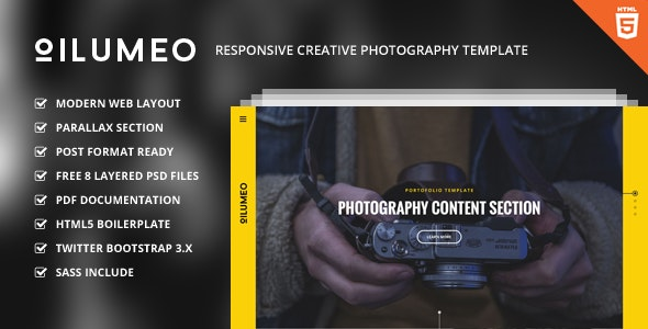 Oilumeo – Responsive Creative Photography Template - Photography Creative
