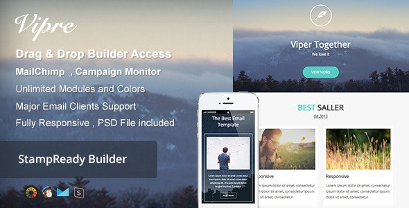 Viper - Responsive Email + Builder Online - Newsletters Email Templates