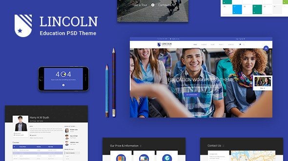 Lincoln | Educational Material Design PSD Theme - Corporate Photoshop