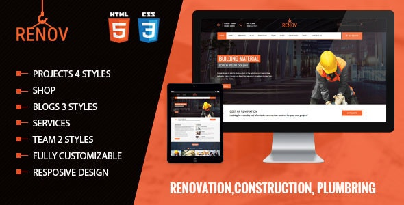 Renov - Construction and Builders Html Template - Business Corporate