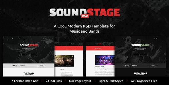 SoundStage - A Rockin' PSD Music Template - Entertainment Photoshop