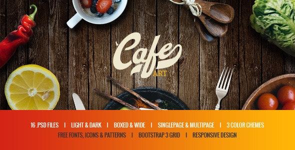 Cafe Art - Bar & Restaurant PSD Template - Restaurants & Cafes Entertainment