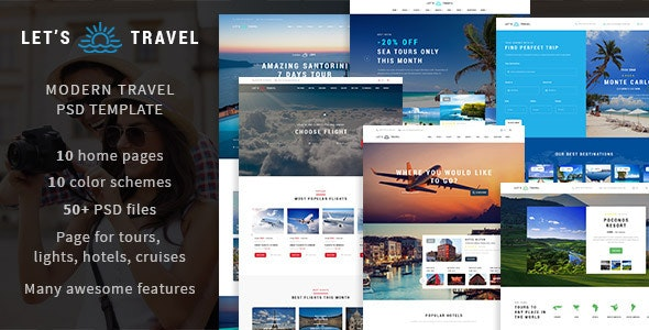 Let's Travel - Premium Travel Booking PSD Template - Travel Retail