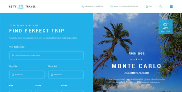 Let's Travel - Premium Travel Booking PSD Template