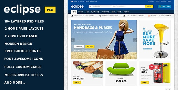 Eclipse | Modern E-commerce PSD Template - Shopping Retail