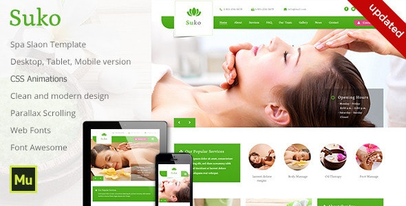 Suko - Spa Salon Template - Corporate Muse Templates