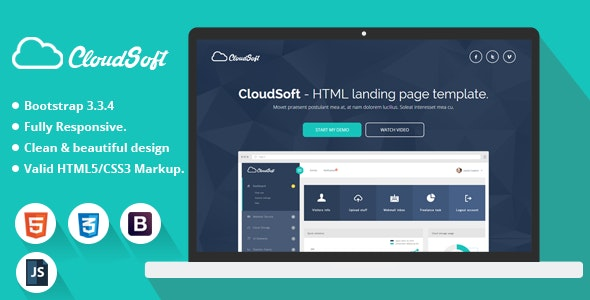 Cloud Soft Html Landing Page Template By Demustang