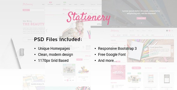 Stationery - Multi-Purpose eCommerce PSD Theme - Retail Photoshop