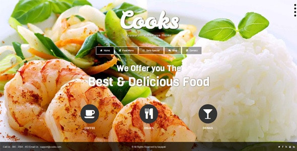 Cooks - Restaurant Responsive HTML Template - Restaurants & Cafes Entertainment