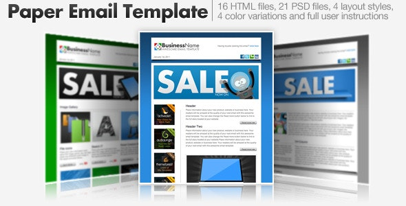 Paper Email Templates - 16 HTML Email Templates - Newsletters Email Templates