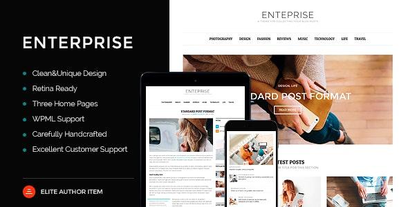 Enterprise - Responsive Magazine, News, Blog Theme - Personal Blog / Magazine