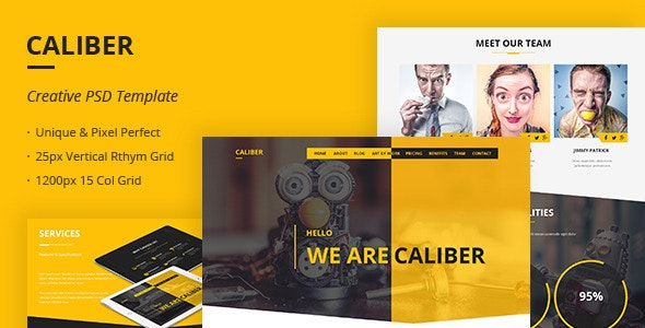 Caliber - Creative Multi Purpose PSD Template - Creative Photoshop