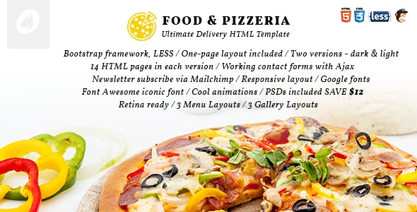 Food & Pizzeria - Ultimate Delivery HTML5 Template - Retail Site Templates