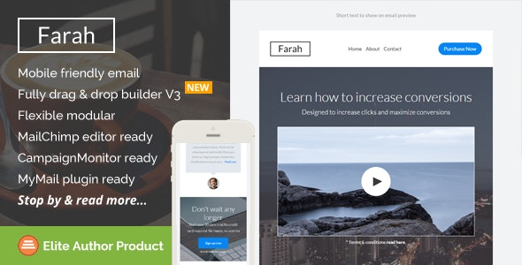 Farah, Responsive Email Template + Builder Access - Email Templates Marketing
