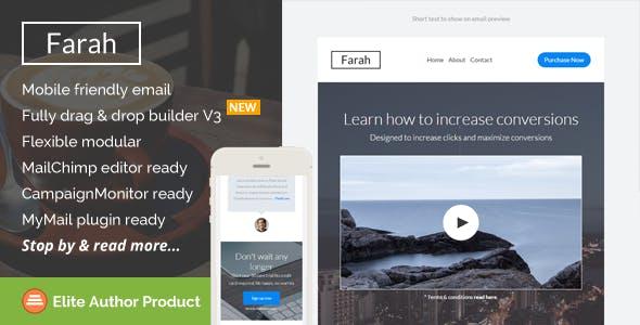 Farah, Responsive Email Template + Builder Access