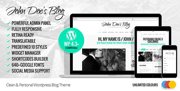 John Doe - Clean Wordpress Blog Theme - Personal Blog / Magazine