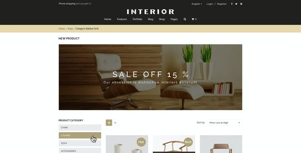 Responsive Minimalist Shopify Theme for Interior