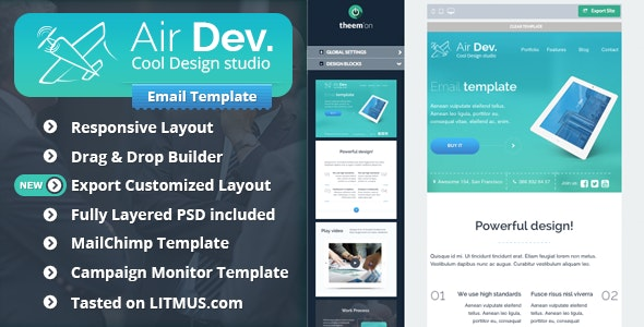 AirDev- Corporate Email Template + Builder Access - Email Templates Marketing