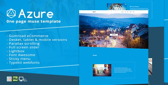 Azure - Pure Blue Muse Template for Portfolios & Creatives - Creative Muse Templates