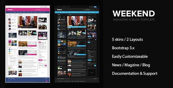 Weekend - Magazine & Blog HTML Responsive Template - Entertainment Site Templates