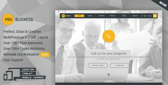 ProBusiness - Multipurpose Business Muse Theme - Corporate Muse Templates
