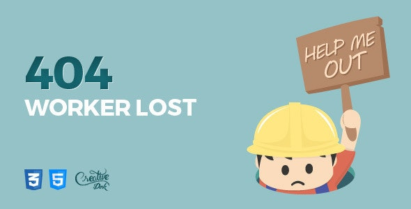 Worker Lost - Animated 404 Error Page - 404 Pages Specialty Pages