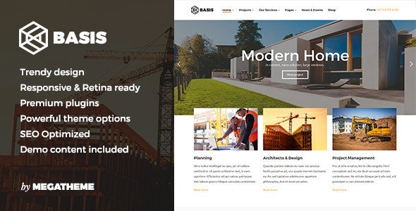 Basis - Construction Business WordPress Theme - Business Corporate