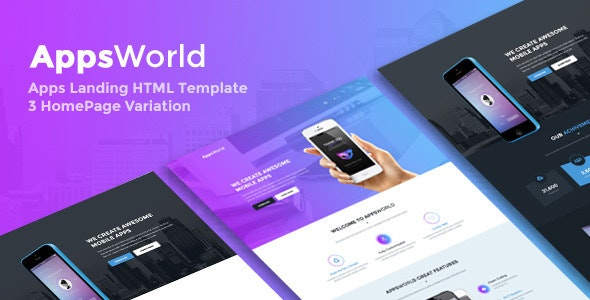 AppsWorld - App Landing Page HTML5 Template - Marketing Corporate