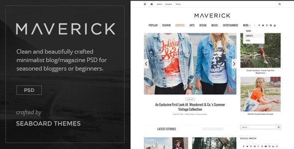 Maverick - Minimalist Blog/Magazine PSD - Miscellaneous Photoshop