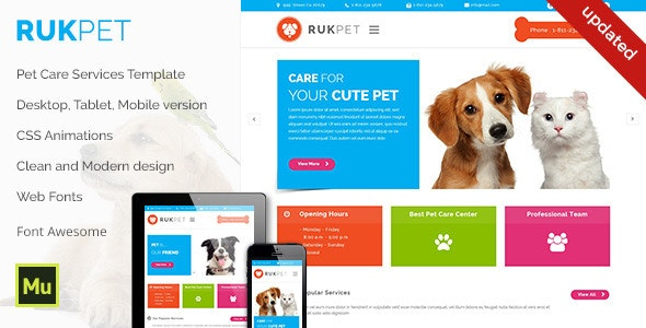 Rukpet - Pet Care Services Template - Corporate Muse Templates