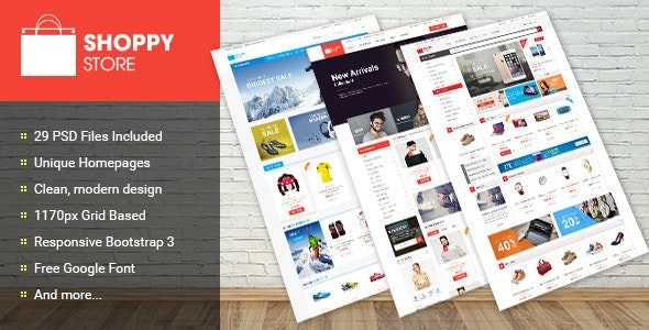 Shoppy Store - Multi-Purpose eCommerce PSD Theme - Retail PSD Templates