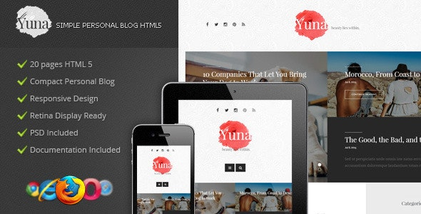 Yuna - Personal Blog HTML5 Template - Personal Site Templates