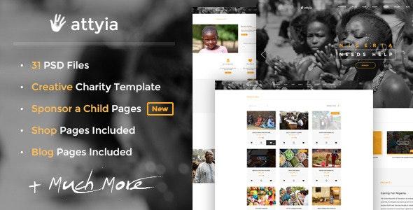 Attyia - Creative Charity PSD Template - Charity Nonprofit