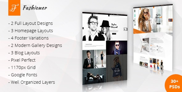 Fashioner Modern PSD Template - Fashion Retail