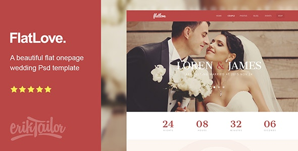 FlatLove - Flat Onepage Wedding Psd Template - Personal Photoshop