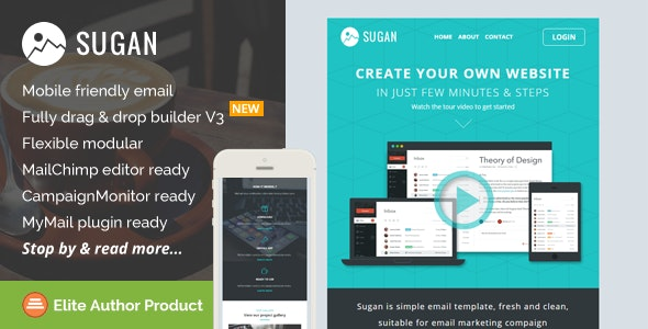 Sugan, Responsive Email Template + Builder Access - Newsletters Email Templates