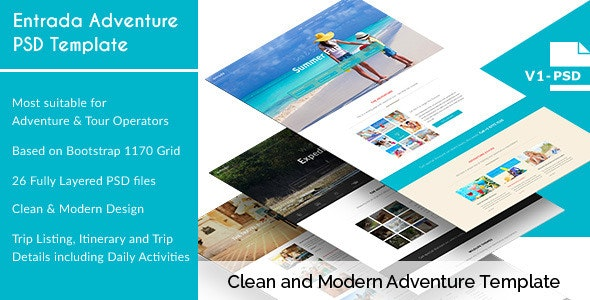 Entrada - Adventure and Tour PSD Template - Travel Retail