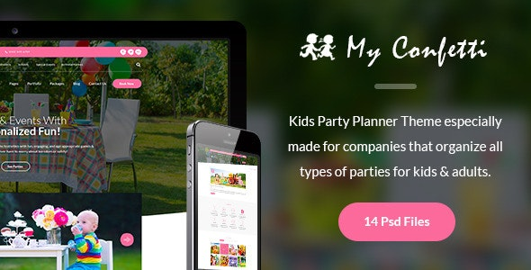 My Confetti - Kids Party Planner PSD Template - Events Entertainment