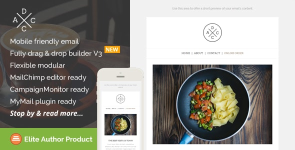 Acdc, Restaurant Email Template + Builder Access - Newsletters Email Templates