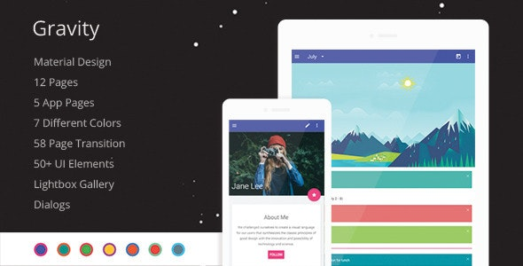 Gravity - Material Design Mobile Template - Mobile Site Templates