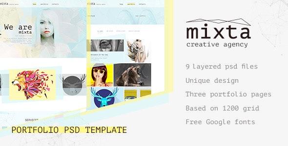 Mixta — Creative Agency, Portfolio PSD Template - Portfolio Creative
