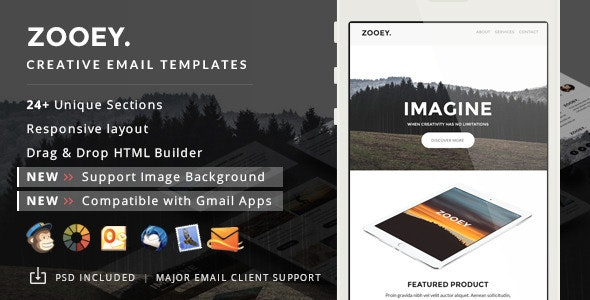 Zooey - Supports Image Background & Gmail App + Builder Access - Email Templates Marketing