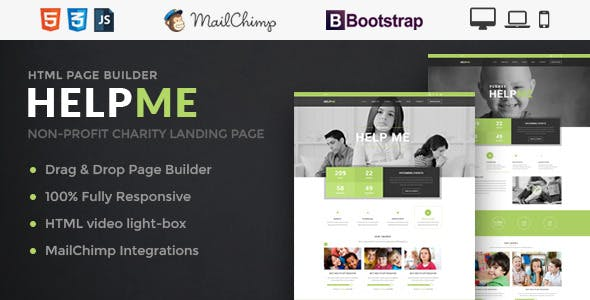 HelpMe - Nonprofit Landing Page Template With Page Builder
