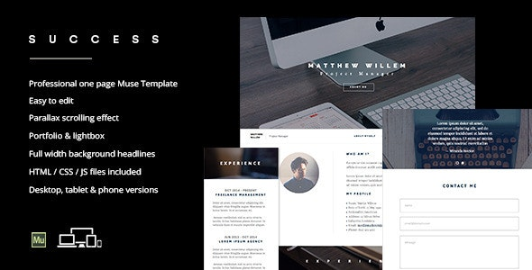 Success - One page professional Muse template - Personal Muse Templates