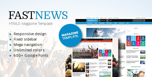 FastNews — Responsive Magazine Template - Technology Site Templates
