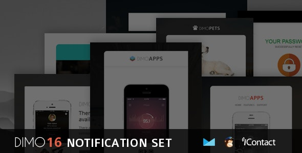 Dimo -16 Email Notification Template Set + Online Access - Email Templates Marketing