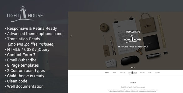 Lighthouse - One Page Responsive WordPress Theme - Portfolio Creative