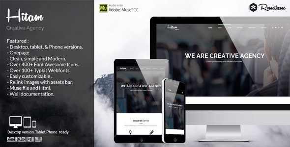 Hitam Onepage Muse Template - Muse Templates