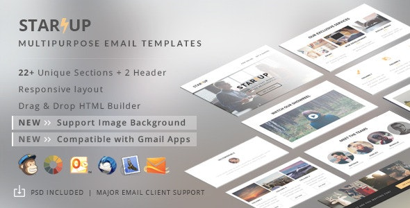 Startup - Creative E-Newsletter + Builder Access - Email Templates Marketing